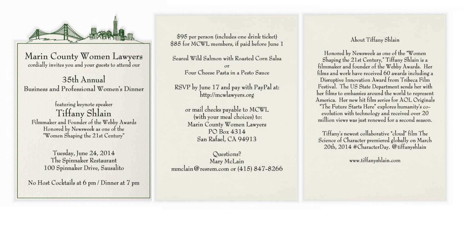 th annual business and professional women s dinner marin dinner invitation
